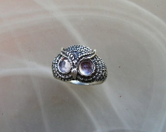Sterling Silver Owl Ring With Faceted Moonstone Eyes