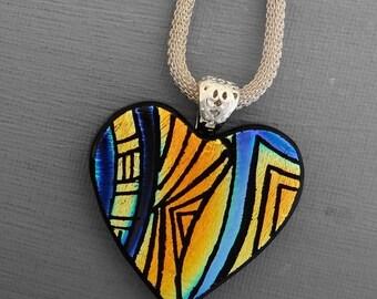 Valentine Heart Pendant, Dichroic Fused Glass Hand Etched  Pendant, Fused Glass Heart Pendant, Zentangle Pendant  - Southwest Sunset