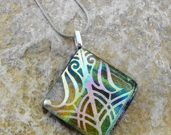 Diagonal Dichroic Glass Necklace, Fused Glass Pendant, Glass Slide, Dichroic Fused Glass Etched  Pendant,   - Southwest Rainbow