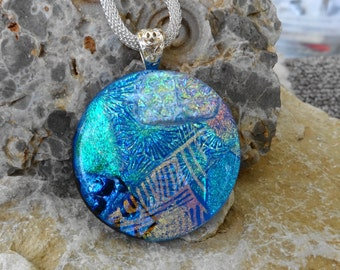 Round Fused Glass Pendant, Dichroic Fused Glass Pendant, Statement Pendant, Blue Glass Necklace, Blue Dichoric Glass Pendant