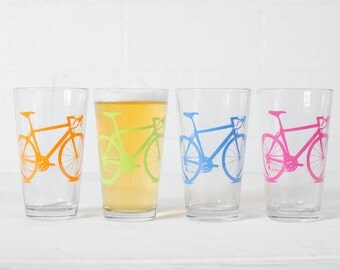 BIKE PARTY GLASSWARE set of 4 screen printed bicycle Pint glasses