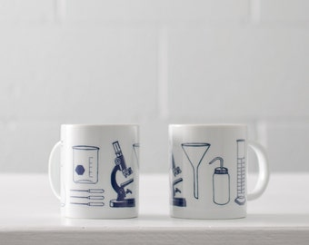 Science Tools chemistry mug - White and Navy - screen printed coffee cup