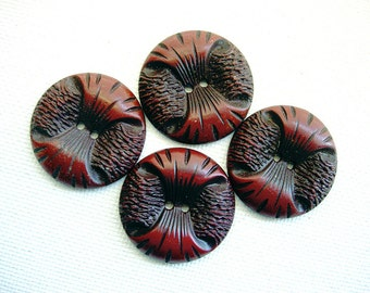 Four Neat Vintage Buffed Celluloid Fancy Designed Brown Buttons