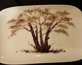 China Painted Monochrome Tree Woodland Design Tray