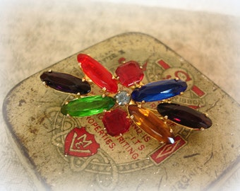 vintage jewel tone brooch multi brights rhinestone brooch prong set rhinestones