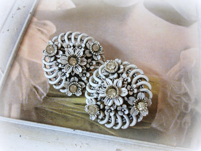 vintage celluloid and rhinestone wedding cake earrings