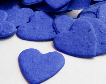 350 Royal Blue Heart Biodegradable Seed Paper Confetti