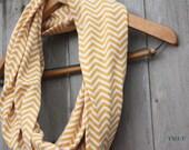 Gold & White Chevron Jersey Knit Infinity Scarf