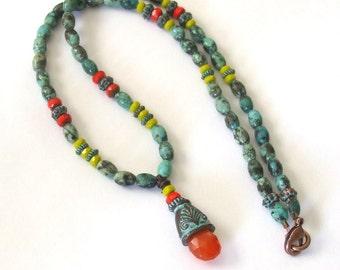 Beaded Turquoise Gypsy Necklace Ethnic Hippie Necklace Orange Carnelian Pendant Necklace Multi Color Festive Jewelry