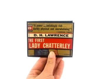 Lady Chatterley - Paperback Card Wallet - made from recycled vintage paperback book, mounted on leather