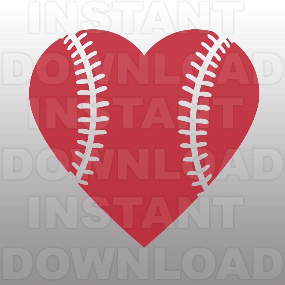Baseball Heart SVG File Cutting Template-Clip Art For
