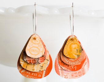 Teardrop earrings | Postage stamp | International | Orange | Layered Hoops