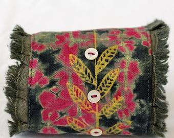 Textile art wrist cuff, wearable art cuff, shibori hand dyed, screenprinted leaves, vine, botanical print, pink , gray, cotton linen fabric