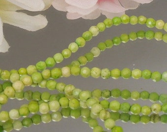 24 Lime Green Magnesite 4mm Facet Rounds- Bastet's Beads