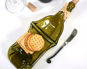 Gold Wine Bottle XL Chip and Dip Snack Bowl with Cork and Raffia and Spreader - Recycled Eco-Friendly