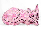decorative pillow, cat pillow, animal pillow, big relaxed cat shaped pillow pink orange abstract fabric