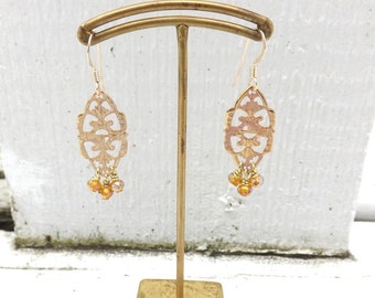 Blush Crystal Fringe Earrings - Blush Filigree and Amber Glass Crystals Rainbow Finish - 14 KT Gold Filled Earwires - 2 Inches - Lightweight