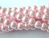 Light Pink Pearls, 8mm Glass Pearls, 110 Pink Glass Pearls