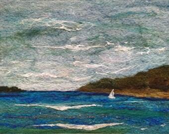 No.782 Sailing One - Needlefelt Art XL - Wool Painting