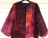 Richly Colored Cotton Batik  Kimono Style Jacket