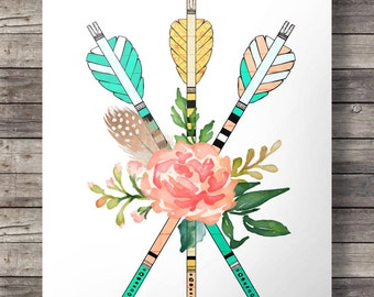 Watercolor flowers and arrows - Printable wall art  - Instant download digital print