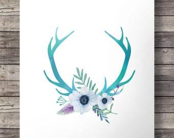Blue watercolor Antlers and flowers print  - Printable Antlers wall art - digital print