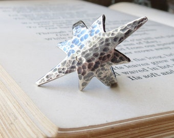 Hammered Nautical Star Ring Statement Ring in Sterling Silver Clearance Sale