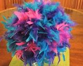 "12""  Feather Ball, Blue, purple, turquoise, peacock, Pomander, Bouquet, Centerpiece"