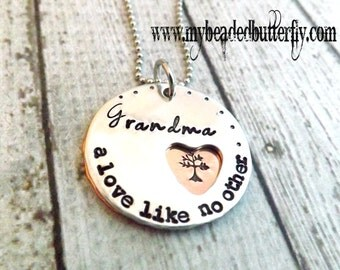 personalized necklace-grandmother necklace-hand stamped necklace-tree of life necklace-mothers day gift-a love like no ther-nana necklace