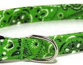 XS Dog Collar - Lime Green Bandana - Extra Small, Teacup, Miniature - Fancy, Soft and Handmade