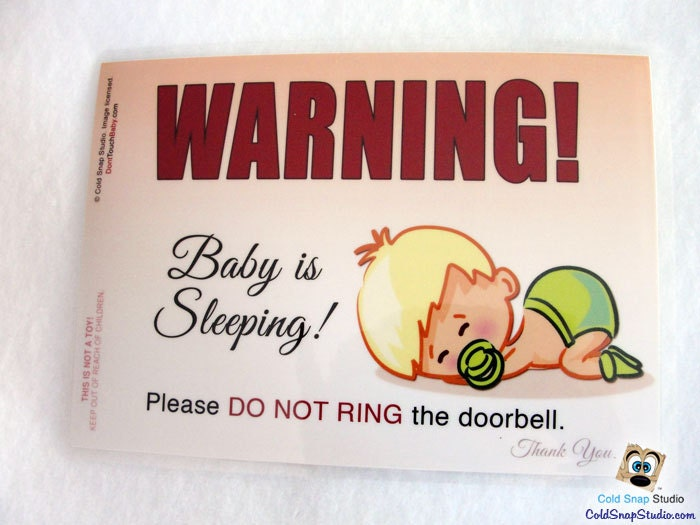 Do Not Ring The Door Bell Notice Sign For Babies And Toddlers