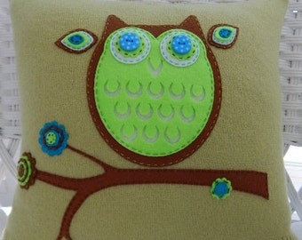 Recycled Green Merino Wool Owl Pillow