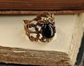 Black Onyx Stone in Brass 10x8mm