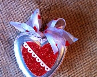 Vintage tin jello mold glitter heart for Valentines.