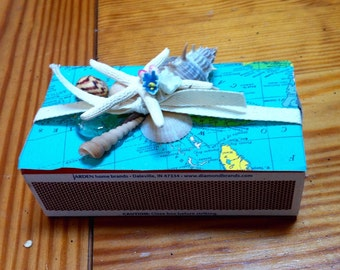 Beach theme with shells decorated large match box