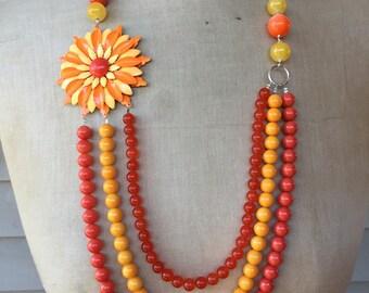 SALE Vintage Necklace, Enamel Flower Necklace, Statement Necklace - Orange