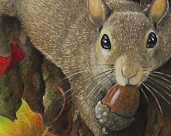 Fall Squirrel Art Melody Lea Lamb ACEO Print #373