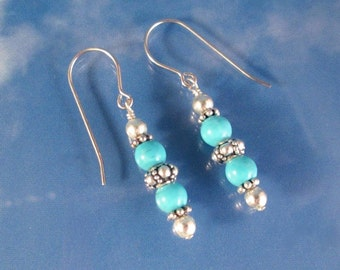 Turquoise & Silver Earrings Sterling Silver Beads and wires Gemstone Drop Dangle Fashion Earrings