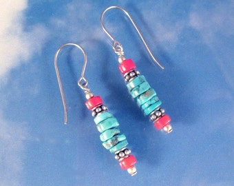 Turquoise and Coral, Sterling Silver Gemstone Earrings