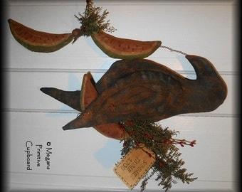 Primitive Summer Black Crow Door Hanger Doll with  Watermelon Slices Handmade Prim