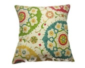 Decorative Pillow Cover Green Yellow Red Blue Suzanni Throw Toss Accent  Same Fabric Front/Back 18 x18 inch x