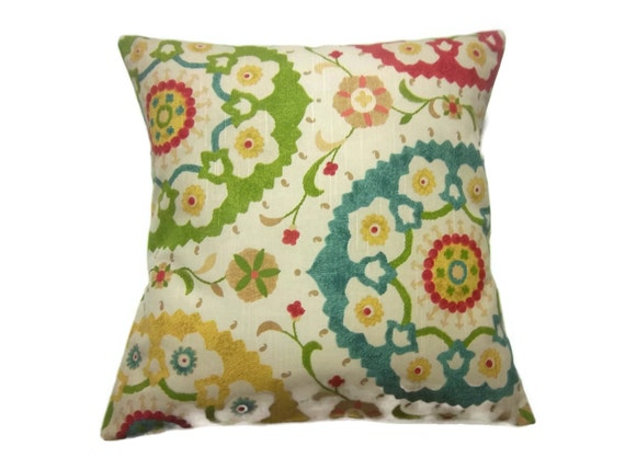 Decorative Pillow Cover Green Yellow Red Blue Suzanni Throw