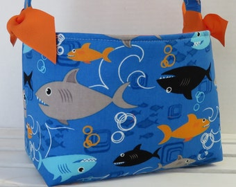 READY TO SHIP - Fabric Easter Basket Candy Bucket Bin Storage Container - Sharks on Blue