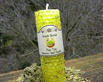 Van Van Rolled Beeswax Spell Candle - Hex Breaking, Success, Attraction, Good Luck, Clearing, Protection, Prosperity, Opening Paths