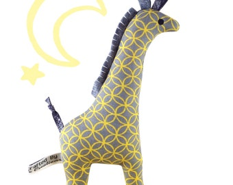 Giraffe Baby Rattle - Yellow & Grey
