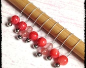 Snag Free Stitch Markers Medium Set of 8 -- Salmon Stone -- M66 -- For up to size US 11 (8mm) Knitting Needles
