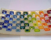 Fused glass fruit dish platter retro squares