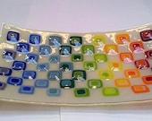 Fused glass fruit dish platter retro squares