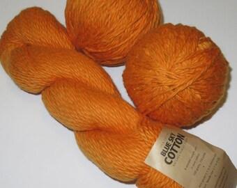 Destash Yarn -- Blue Sky Alpacas Cotton Worsted Yarn in Poppy (Orange) -- 300grams