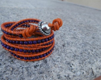 Orange leather and Purple bead wrapped bracelet